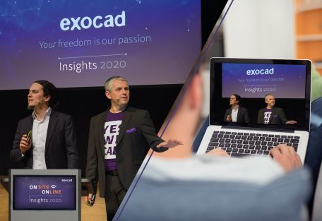 The global dental event exocad Insights is now taking place on September 21 and 22, 2020 as a hybrid event: several hundred participants can be present at darmstadtium in Darmstadt. In addition, participants from all over the world can experience exocad Insights 2020 online via a live stream. Source: exocad GmbH