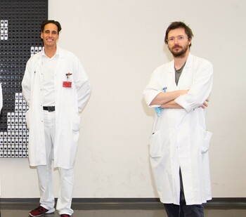Austrian researchers around Manfred Hecking (left) and Roman Reindl-Schwaighofer have investigated the connection between coronavirus infection and blood pressure and found encouraging results. Source: Luiza Puiu/FWF